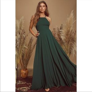 Lulu's Mythical Kind of Love Dark Green Maxi Dress